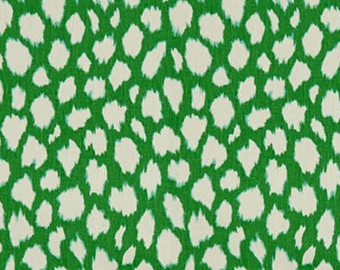 Kravet Leokat Leopard Print in Green Designer Pillow Cover with or without Piping -Square, Lumbar, Euro Sizes, Kravet Kate Spade Fabric