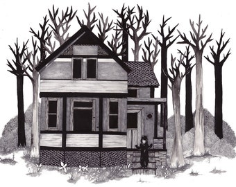 Original Art // Original Drawing // Graphite Drawing // Horror film Illustration // Haunted House // Halloween Art