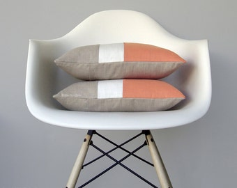 Cantaloupe Colorblock Pillow Cover (Set of 2) Modern Peach Pillows by JillianReneDecor - Spring Home Decor, Mid Century - Orange Color Block