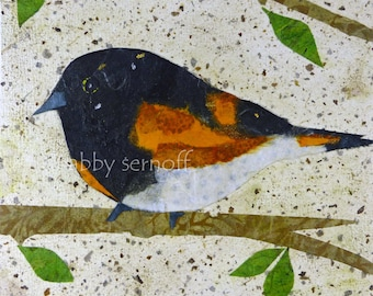 Bird Art Print, Unique Bird Decor, Woodland, Animal Art, Nature Lover Gift, Whimsical Art, Art Print, Boho Bird, Collage, American Redstart