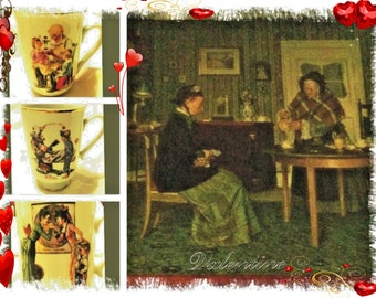 Grandma Gift Antique Norman Rockwell Gift Set - 8X10 Rockwell Photo in Antique Frame, Three NR Vintage Coffee Cups and One NR Wood Plaque