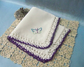 Butterfly Gift, Lace Handkerchief, Hand Crochet, Crochet Lace, Embroidered Hanky, Custom Embroidered, Personalized, Ready to ship