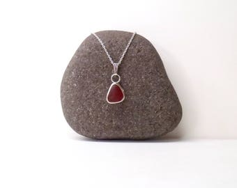 Red sea glass pendant necklace, bezel set sea glass, sterling silver, genuine red sea glass, red beach glass, gift for her, gift for mermaid