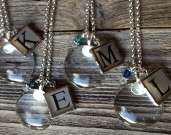 10 Magnifying Glass Necklaces with Initial and Crystal Charm
