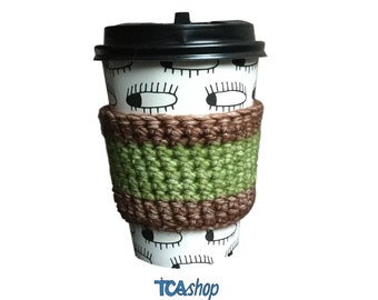 coffee sleeve autumn color zero waste crochet reusable cup sleeve eco friendly coffee lover handmade coffee accessory, green brown