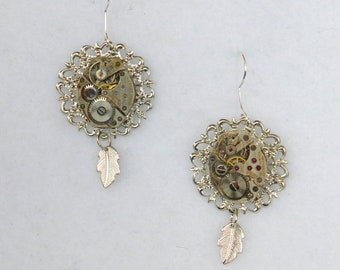 Vintage Watch Movement Earrings  SE184