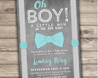 Bow Tie Baby Shower Invitations Little Man Printable Chalkboard Digital Teal Aqua Blue Boy Rustic Vintage NV607