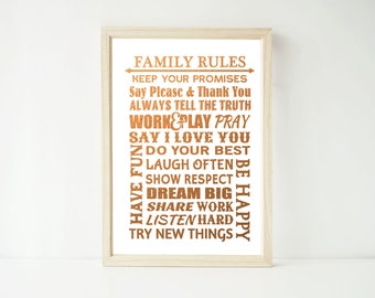 Real Foil Print  -Family House Rules Subway Art Poster Prints, Home Decor Quotes Wall Art, Gold, Gopper, Silver
