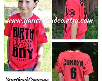 Birthday Boy Captain America shirt,Personalized Birthday Shirt,Kids Birthday shirt,Custom Birthday Captain America shirt,Avengers birthday