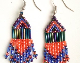 MADE IN AFRICA beaded bohemian earrings//  blue & pink