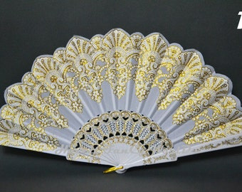 Fabric Hand Fan, Spanish folding fan, white and gold, Dancing fan