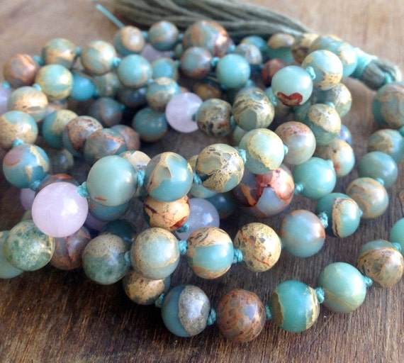 African Opal and Rose Quartz Mala Beads - Heart Chakra Necklace - October Birthstone - 108 Bead Mala Necklace - Yoga Meditation Beads