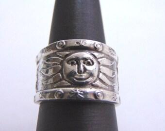 Vintage Estate .925 Sterling Silver Sunshine Moon Ring 10g E1443