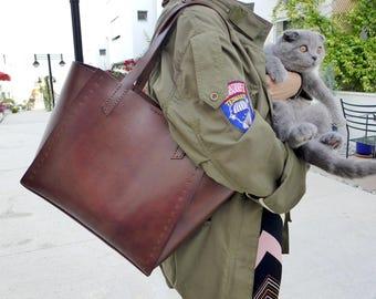 Leather Tote Bag Brown - Leather Handbag - WomenLeather Bag - Leather Shopper Bag - Leather Shoulder Bag