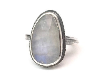 Moonstone Ring - Boho Gift for Mom - gift-for-her - silver moonstone ring