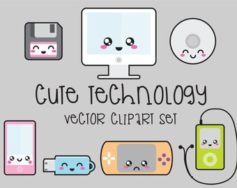 Premium Vector Clipart - Kawaii Technology Clipart - Technology Clip art Set - High Quality Vectors - Instant Download - Kawaii Clipart