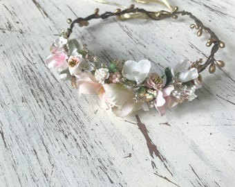 Blush gold flower crown- Flower Crown- Baby Flower Crown- Floral Crown- Flower Girl Headband- Dollcake Flower Crown