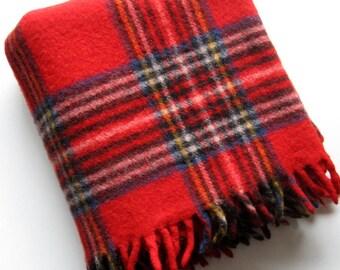 Vintage Faribo Throw - 1960's - Stadium blanket, Wool blanket, Plaid blanket, Fringe, 100% Wool, Mid century, Camping, Picnic, Cabin, Lodge