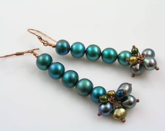 Freshwater Pearl Earrings, Colorful Earrings, Green Pearl Earrings, Pearl Jewelry, Copper Earrings, Solid Copper Jewelry, Wire Wrapped, 1050