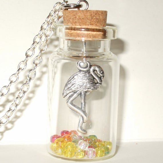 Flamingo Necklace, Bird Jewelry, Bird in a Bottle, Flamingo Jewelry, Kitsch Jewelry, Bird Bottle Pendant, Flamingo Charm, Tropical Bird