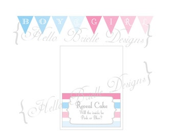 Ombre Gender Reveal Party Printable Cake Banner Baby Blue and Pink - Digital Download