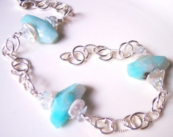 Light and Modern Amazonite Bracelet with Keshi Pearls & Aquamarine in Sterling Silver, Gift for Her, June Birthday