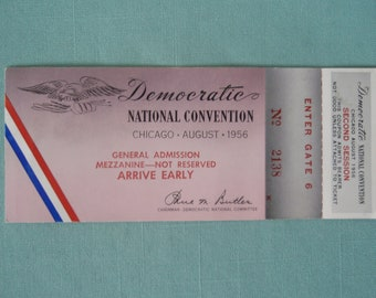 Ticket with Attached Stub to Democratic National Convention August 1956 Like New Memorabilia Souvenir d699