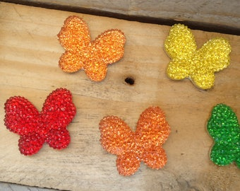 Set of 5 butterflies multicolor craft 3 cm * 2.5 cm