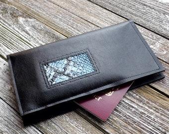 Black Travel Wallet Document Wallet Vegan Leather Travel Wallet Passport Case Faux Leather Wallet Passport Holder Gift Idea Re purposed