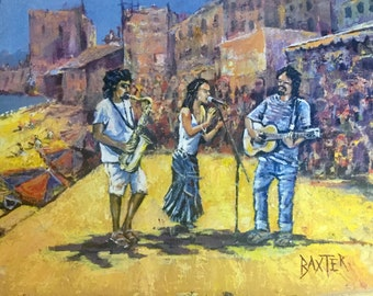 Original Figurative Painting of sunny street entertainers in Spain by Barry Baxter