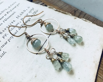 Aquamarine Chandelier Earrings 14K Gold Filled Brass Seafoam Aqua Holiday March Birthstone Summer Jewelry Gemstone Jewelry Gifts Under 100