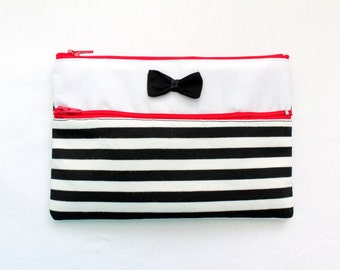 Cute Striped Pencil Case/ Makeup Bag 19.5cm x 13.5cm With Two Red Zippers and Bow