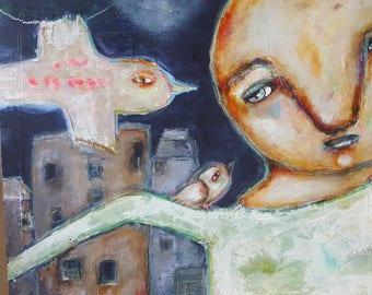 Here is where you belong, Mixed Media Folk Art Painting by Stephanie Goarin