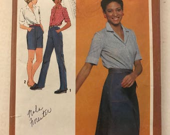 Simplicity 9541 - 1980s Button Front Shirt, Back Wrap Skirt, Straight Legged Pants or Shorts - Size 12 Bust 34