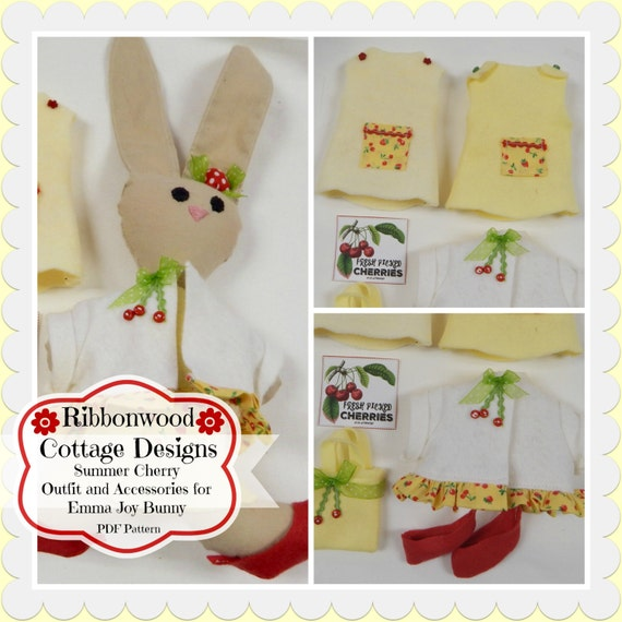 Sewing Pattern PDF Felt Summer Cherry Outfit Only  Pattern for Emma Joy Bunny Felt Doll
