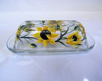 Sunflower butter dish, butter dish, covered butter dish, butter dish with lid, butter dish with sunflowers, hand painted butter dish