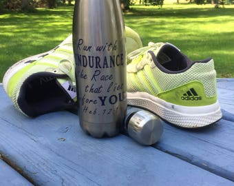 Run with Endurance 17oz Stainless Steel Water Bottle