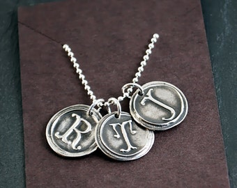 Three Personalized Silver Wax Seal Initials on a Sterling Silver Ball Chain - Customized Letters