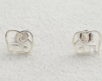 Pair of Cutout Elephant Stud Earrings in Sterling Silver Polished Finish Cute and Pretty e66