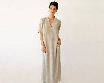Beige Wedding Dress, Bohemian Wedding Dress, Loose Dress, Spring Wedding Dress, Slit Dress, Beige Maxi Dress, Gift for Fashionista, V Neck