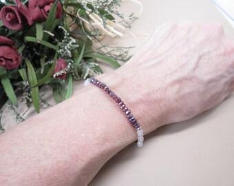Garnet Rose Quartz Bracelet- Red Pink Gemstone In Sterling Silver- January Birthstone- 6.5-8 Inches Length- Gemstone Bracelet Chakra Jewelry