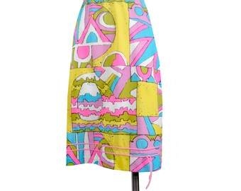 Vintage 60s Slip - 60s Half Slip - Nylon Slip - 60s Nylon Slip - Psychedelic Slip - Pink Purple Green - 60s Skirt - Pop Art - Nylon Tricot