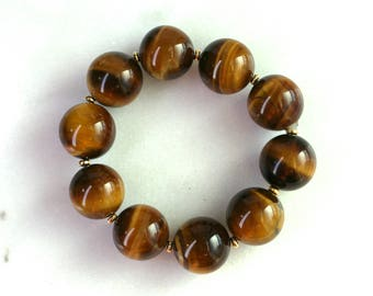Little Luxe Simple Stacking Stretch Bracelet in Huge 20mm Tigers Eye...