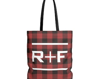 RF Red Buffalo Plaid Tote Bag In 3 Sizes