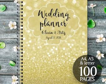 Gold wedding planner, Glitter wedding planner, Printable wedding binder, Digital wedding checklist, Gold wedding organiser, Gold wedding kit