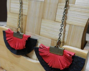 Leather earrings hand made black&red semicircle