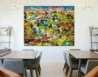 modern wall art, House on a Hill, Homes, Neighborhood Houses wall art,  Corporate wall art, Johno Prascak, Johnos Art Studio