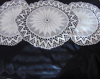 "Fabulous large white hand crochet table runner dresser scarf shabby chic country tea time 34"" x 17"""
