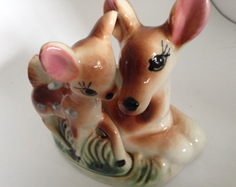 Mother and Baby Deer Planter, Centerpiece With Bambi and Mom, Spotted Fawn and Doe