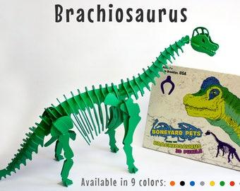 Dinosaur Puzzle, Dinosaur Toy, 3D Dinosaur Skeleton Puzzle, Recyclable PVC Brachiosaurus Dinosaur Puzzle Toy, Your Choice of NINE COLORS
